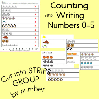 count a group of objects and write the numeral 0- 10 to label each set (3 pages)
