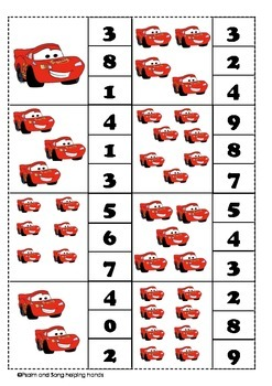 count and clip numbers #1-10 (cars theme)
