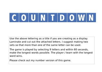 countdown game letters
