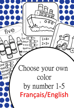 counting and adding to five- color by number