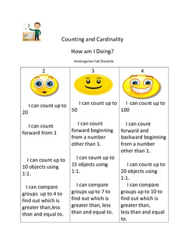 counting and cardinality checklist for fall