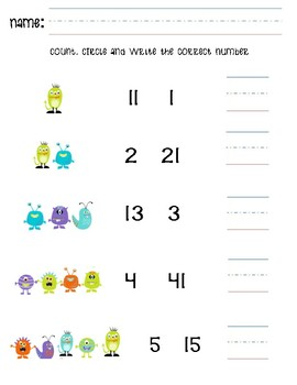counting, identifying and writing numbers