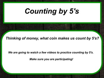 counting by 5's, 10's, and 25's