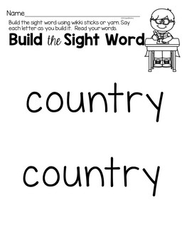 Country Red Word Activities For Centers
