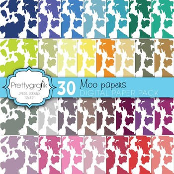 cow print animal print digital paper, commercial use, scra