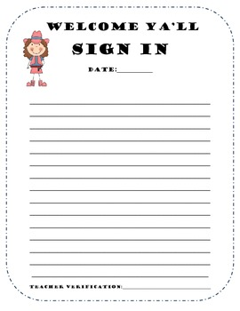 cowboy sign in sheet for after school events/clubs and tutorials