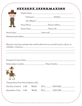 cowboy student information sheet