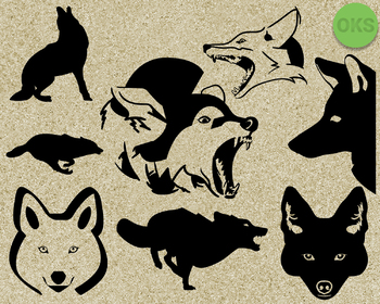 coyote SVG cut files, DXF, vector EPS cutting file instant download for cricut