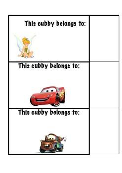 cubby disney lables