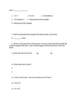 cumulative math test