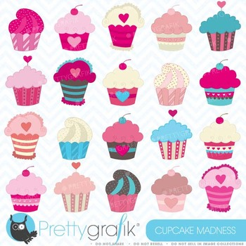 cupcake madness clipart commercial use, vector graphics - CL456