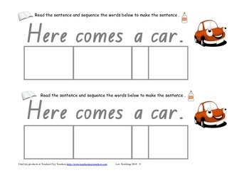 "cut and paste sentence match independent literacy activity ""Here comes"""