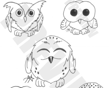 cute OWL clipart-- realistic black and white images