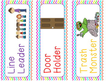 cute and colorful chevron rainbow class jobs labels with pictures