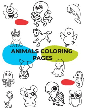 cute baby animals coloring pages for kids, unicorn,giraffe ...