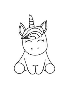 Cute Baby Animals Coloring Pages For Kids Unicorn Giraffe And More
