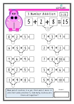 Hundreds of Hippos 3 Number addition worksheets