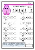 Hundreds of Hippos 3 Number addition worksheets