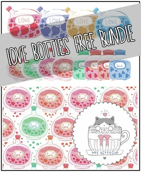 Valentine themed love bottles bundle (illustrations and background)