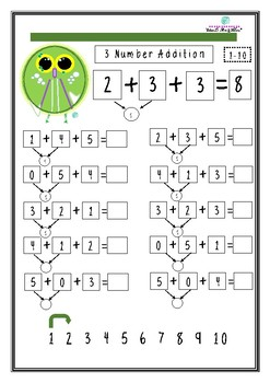 I Will Owlways Love Maths 3 number addition worksheets