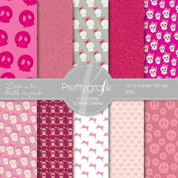 cute skulls digital paper, commercial use, scrapbook papers, background - PS533