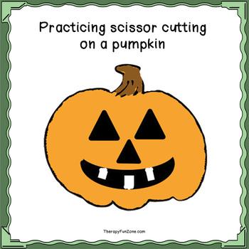 cutting a jack-o-lantern for scissor cutting skills