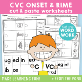 cvc Onset & Rime Worksheets - Cut Paste - Single Sound Focus
