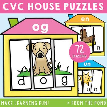cvc Puzzle Activities - Word Family cvc Houses