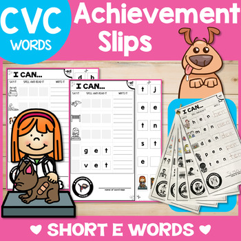 SHORT E cvc Word Family Worksheets/Assessments:  I Can Spell, Read & Write!