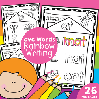 cvc Words / Word Families -  Rainbow Writing