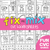 cvc Worksheets Packet - Fix the Mix