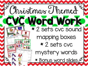 cvc word work_christmas themed plus bonus word slides