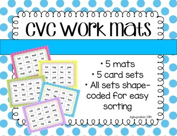 cvc work mats_5 picture-to-word matching activities