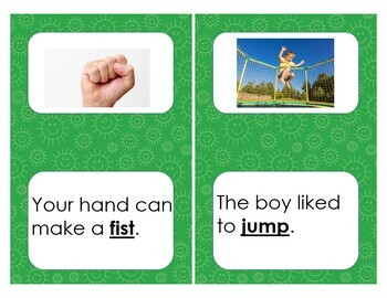 cvcc/ccvc picture cards with sentences
