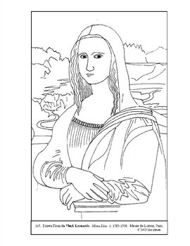 Da Vinci Mona Lisa Coloring Page And Lesson Plan Ideas Tpt