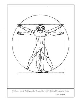 da Vinci.  Vitruvian Man.  Coloring page and lesson plan ideas