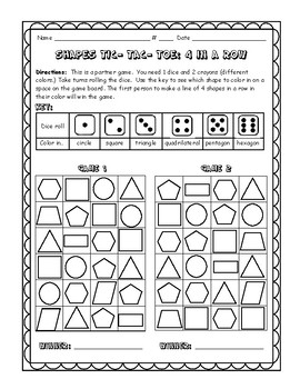 daily 3 math- shape tic- tac- toe