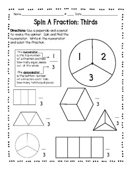 daily 3 math -spin a fraction