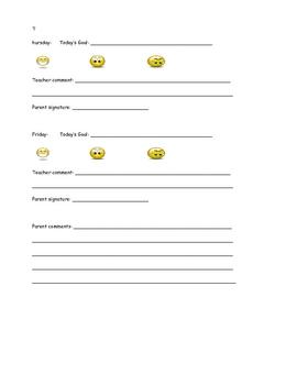 daily behaviour sheet