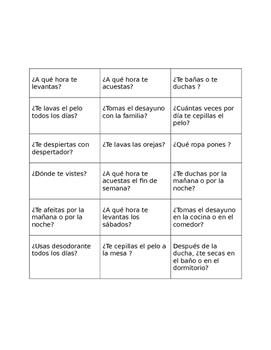 daily routine surveys SPANISH