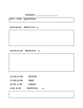 daily schedule for the substitute (editable)