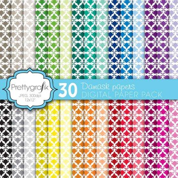 damask digital paper, commercial use, scrapbook papers, background - PS567