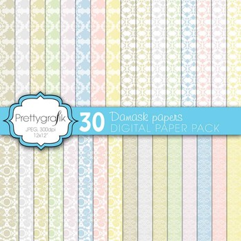 damask digital paper, commercial use, scrapbook papers, ba