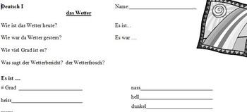 das Wetter - German weather activities bundle