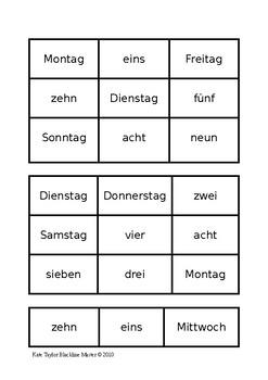 days of week bingo card