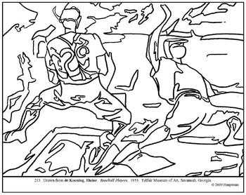 de Kooning.  Baseball Players.  Coloring page and lesson plan ideas