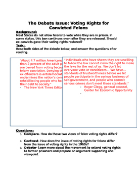 debate Voting rights for convicted felons