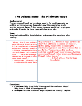 debate minimum wage issue worksheet