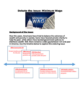 debate minimum wage issue worksheet