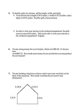 decimal word problem HW